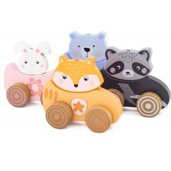 ANIMAL RACING CAR (set of 4)
