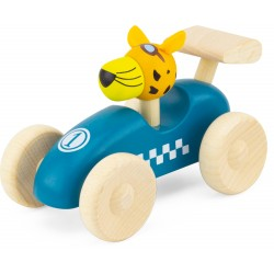 WOODEN RACING CAR: BLUE