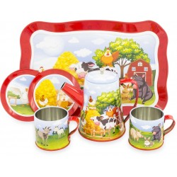 TIN TEA SET: FARM